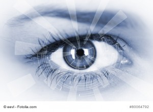 Eye viewing digital information. Conceptual image.